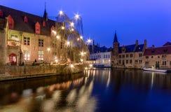 Rozenhoedkai Брюгге, Бельгия, декабрь 2017 стоковое изображение