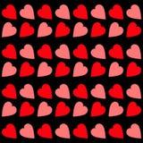 Rozerood hart Naadloos Patroon Verpakkend document, textielmalplaatje Zwarte achtergrond Geïsoleerde Vlak Ontwerp royalty-vrije illustratie