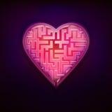 Rozerood labyrintontwerp als liefde en moderne grafisch van het hartsymbool Stock Afbeeldingen