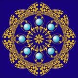 Rozet met blauwe parels Stock Afbeeldingen