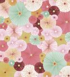 Rozettes de papier de vintage, couleurs en pastel, rose, modèle, bordoux illustration stock