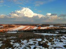 Rozey rural winter hill royalty free stock images