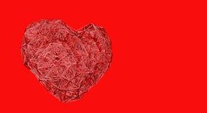 Rozgałęzia się robić serce na czerwonym tle - Minimalny projekt zdjęcia stock