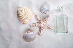 Rozgwiazda, morze skorupy i pusta butelka na białym piasku, zdjęcia royalty free