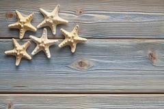 Rozgwiazdy na deskach Fotografia Royalty Free