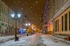 Rozhdestvenka街在晚上 库存照片