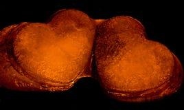 Rozjarzeni serca Pomarańczowi Obrazy Royalty Free