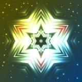 Rozjarzona gwiazda na zmroku - błękitnym i zielonym gradientowym tle z błyska Fotografia Royalty Free