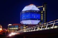 Rozjarzona Krajowa biblioteka Białoruś w wieczór minister zdjęcia royalty free