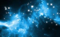 Rozjarzona mgławica w głębokiej przestrzeni Gigantyczna międzygwiazdowa chmura z gwiazdami ilustracji