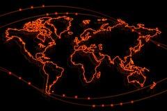 Rozjarzona ognista konturowa mapa świat Obraz Stock
