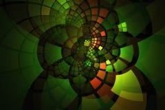 Rozjarzone fractal płytki w kontrastowanie zieleniach wygina się out w warstwach pomarańczach i Zdjęcie Stock