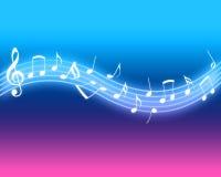 rozjarzone muzyczne notatki Zdjęcia Stock