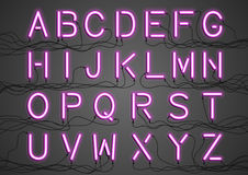 Rozjarzone Neonowe żarówki z drutami łączącymi Obraz Royalty Free