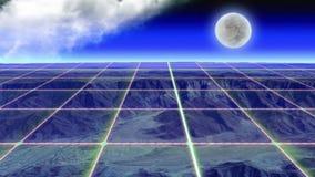 Rozjarzone siatek linie nad górą przy nocą zbiory