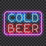 Rozjarzonego neonowego baru znaka ZIMNY piwo Zdjęcia Stock