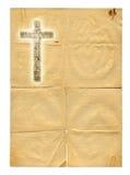 Rozjarzony święty krzyż na papierowym tle Zdjęcie Stock