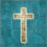 Rozjarzony święty krzyż na papierowym tle Zdjęcia Royalty Free