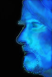 Rozjarzony błękit kreślił profil brodaty mężczyzna z turbanem Obraz Stock