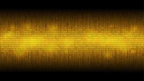 Rozjarzony binarnego kodu złoty abstrakcjonistyczny tło, rozjarzona chmura duzi dane, strumień informacja royalty ilustracja