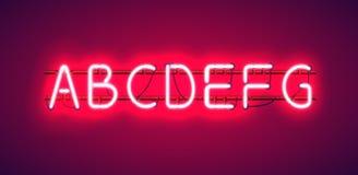 Rozjarzony Czerwony Neonowy abecadło Zdjęcie Royalty Free
