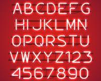 Rozjarzony Czerwony Neonowy abecadło Zdjęcia Stock