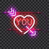 Rozjarzony czerwony neonowy serce przebijający z purpurową strzała Fotografia Stock