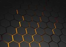 Rozjarzony Heksagonalny tło ilustracja wektor