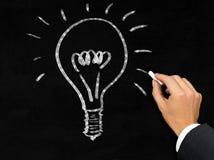 Rozjarzony lightbulb na blackboard rysującym biznesmenem Fotografia Royalty Free