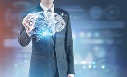 Rozjarzony markiera biznes, móżdżkowy hologram Obrazy Royalty Free
