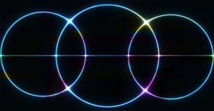 Rozjarzony Neonowy światło, Abstrakcjonistyczny okręgu symbol, projekta element dla reklam, plakat, ulotka, sztandar zdjęcie stock