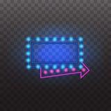 Rozjarzony neonowy światło podpisuje iluminujący odosobnionego na przejrzystym tle Fotografia Stock
