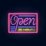 Rozjarzony Neonowy baru znak dla Twój Obyczajowego sztandaru Realistyczny projekt Z wpisowym otwiera ilustracji