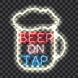 Rozjarzony neonowy baru znaka piwo NA klepnięciu Zdjęcia Royalty Free