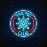 Rozjarzony neonowy znak żeglowanie klub z kierownicą w okrąg ramach na ciemnym ściana z cegieł tle ilustracja wektor