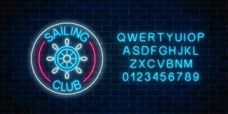 Rozjarzony neonowy znak żeglowanie klub z kierownicą w okrąg ramach na ciemnym ściana z cegieł tle ilustracji