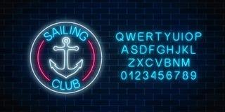Rozjarzony neonowy znak żeglowanie klub z kotwicowym symbolem w okrąg ramach Lato czasu wolnego jachtu klubu emblemat ilustracji