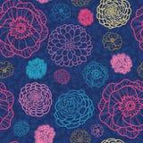 Rozjarzony noc kwiatów bezszwowy deseniowy tło Obraz Stock