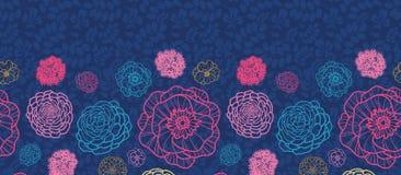 Rozjarzony noc kwiatów horyzontalny bezszwowy wzór ilustracja wektor