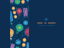 Rozjarzonych lampionów horyzontalny bezszwowy wzór ilustracja wektor