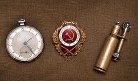 Rozkaz, zapalniczka, kieszeniowy zegarek Obraz Stock