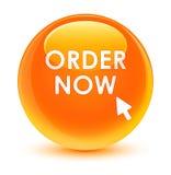 Rozkazu teraz szklisty pomarańczowy round guzik Zdjęcie Royalty Free