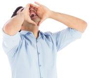 Rozkrzyczana przypadkowa mężczyzna pozycja Fotografia Stock