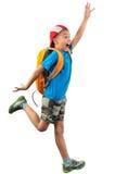 Rozkrzyczana skokowa chłopiec odizolowywająca nad bielem Zdjęcie Royalty Free