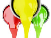 Rozlewać farb puszki na białym tle Zdjęcia Stock