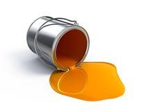 rozlewająca pomarańczowa farba Zdjęcie Stock