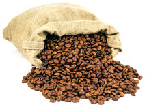 Rozlewająca kawa z torby Obrazy Stock