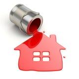 Rozlewający farby i domu symbol. Paintig twój dom. Zdjęcia Royalty Free