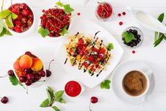 Rozmaitość Belgijscy opłatki z jagodami, czekoladą i syropem, obraz stock
