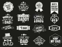 Rozmaitość czarny i biały tata znaki Odosobnione Szczęśliwe ojca dnia wycena na czarnym tle ojczulek royalty ilustracja